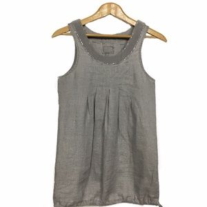 Tops - Long Grey Pure Linen Sequined Tunic Tank Top Dress